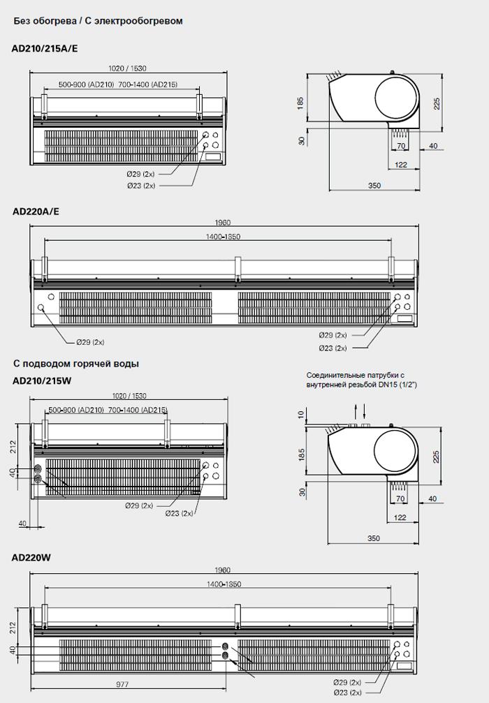 Электроподключение AD 200E Завеса Фрико Термозон должна подключаться к сети через всеполюсной автомат защиты с...